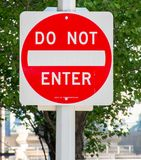 Do Not Enter sign. Do Not Enter traffic sign board in New York City Royalty Free Stock Photography