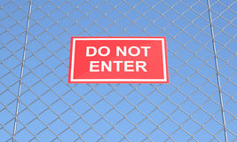 Do not Enter Sign on a Wire Mesh Royalty Free Stock Images