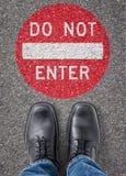 Do not enter. Text on the floor - Do not enter Stock Photo