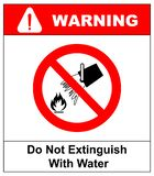 Do not extinguish with water, prohibition sign,  illustration. Do not extinguish with water, prohibition sign,  illustration isolated on white. Warning red stock illustration
