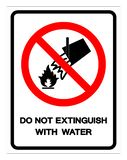 Do Not Extinguish With Water Symbol Sign, Vector Illustration, Isolate On White Background Label .EPS10 vector illustration