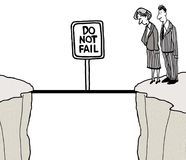 Do Not Fail. The cartoon shows two businesspeople looking down a steep cliff side with a small bridge to the other side and a sign that says do not fail Stock Photography