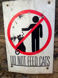 Do not feed Cats: Street Sign, Beirut, Lebanon Royalty Free Stock Photo