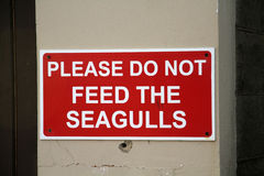 Do not feed the gulls sign. Stock Photo