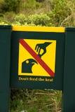 Do not feed the kea parrot ,New Zealand, South Island Stock Image