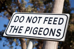 Do not feed the pigeons Stock Image