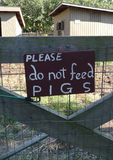 Do Not Feed Pigs Sign Royalty Free Stock Photo