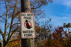Do Not Feed Water-Fowl sign Royalty Free Stock Image