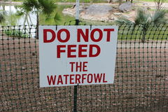 Do not feed waterfowl Stock Photo