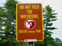 Do not feed the waterfowl sign Royalty Free Stock Images
