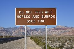 Do Not Feed The Wild Horses Sign Stock Photos