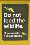 Do not feed the wildlife sign Royalty Free Stock Photography