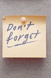 Do not forget written on a lable Stock Photography