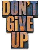 Do not give up phrase in wood type Stock Image