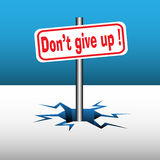 Do not give up plate. Abstract colorful background with a plate with the text do not give up coming out from an ice crack Royalty Free Stock Image