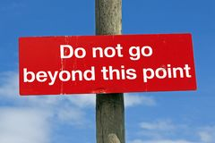 Do not go beyond this point royalty free stock image