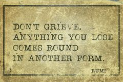 Do not grieve Rumi Royalty Free Stock Photo