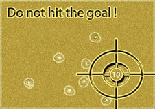 Do not hit the goal!. Great creative abstract bright image of the target rich texture with traces of bullets and the inscription Do not hit the goal Royalty Free Stock Photo