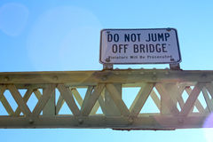 Do Not Jump Off of Bridge Sign Royalty Free Stock Images
