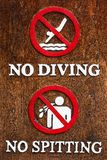 Do not jump in the water and spit saliva into the pool. Royalty Free Stock Photos