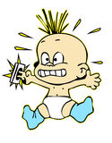 Do not leave kids alone. Electric shocked baby with his fingers in the socket vector illustration