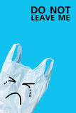 Do not Leave Me. Recycle Concept of Plastic Bags on Blue Screen Stock Image