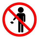 Do not leave your trash on the floor icon. Sign Stock Image