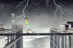 Do not let your child walking around. Mixed media Stock Image