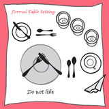 Do not like. Dining table setting proper arrangement of cartooned cutlery Royalty Free Stock Photos