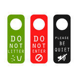 Do not litter, enter, be quiet door signs. Silence please tag, do not leave garbage and prohibited entrance signs royalty free illustration