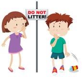 Do not litter scene. Illustration royalty free illustration