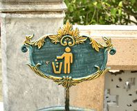 Do not litter sign in Wat phra kaew, Thailand. Please clean symbol in Wat phra kaew, Thailand Royalty Free Stock Image