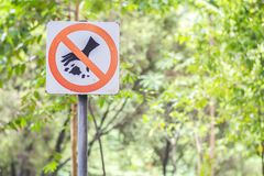 Do not litter signs in park. Background stock photography