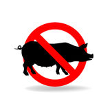 Do not litter vector sign. Crossed pig. No pork sign Stock Photos