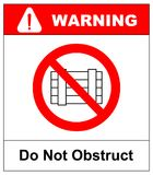 Do not obstruct, prohibition sign. Designated clear area, vector illustration. Do not obstruct, prohibition sign. Designated clear area, vector illustration Stock Images