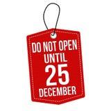 Do not open until 25 december label or price tag vector illustration