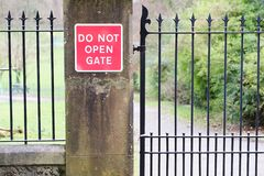Do not open gate sign. Uk stock images