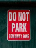 Do Not Park Tow Away Zone sign stock image