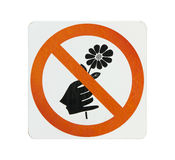 Do not pick flower sign,orange cycle color on white background Stock Photos
