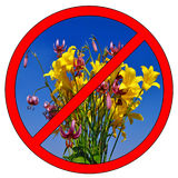 Do not pick flowers Stock Photo