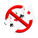 Do not play gamble suit card prohibition sign. A do not play gamble suit card prohibition sign royalty free illustration