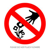 Do not pluck flowers. Vector sign Stock Image