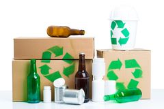 Do not pollute our planet!. Close up of recyclable things Stock Photos