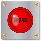 Do Not Push. The big red emergency do not push button on a white background Royalty Free Stock Images