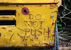 Do not push welded sign on rear of truck Royalty Free Stock Images