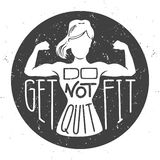Do not quit, get fit. Motivational vector illustration with female silhouette doing bicep curls . stock illustration