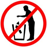 Do not recyclable litter in trash.Keep clean sign.Not to throw can or bottle into trash bin prohibition warning caution red circle stock photography