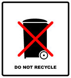 Do not recycle sign. Do not throw in trash. Recycle bin sign icon. For use on cardboard boxes, packages and parcels Stock Photo