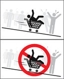 Do not ride in shopping trolley. Riding in a shopping trolley is forbidden Royalty Free Stock Images