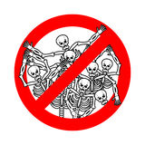 Do not sin. Stop sinners. Dangers red sign dead. Skeletons are p Stock Images
